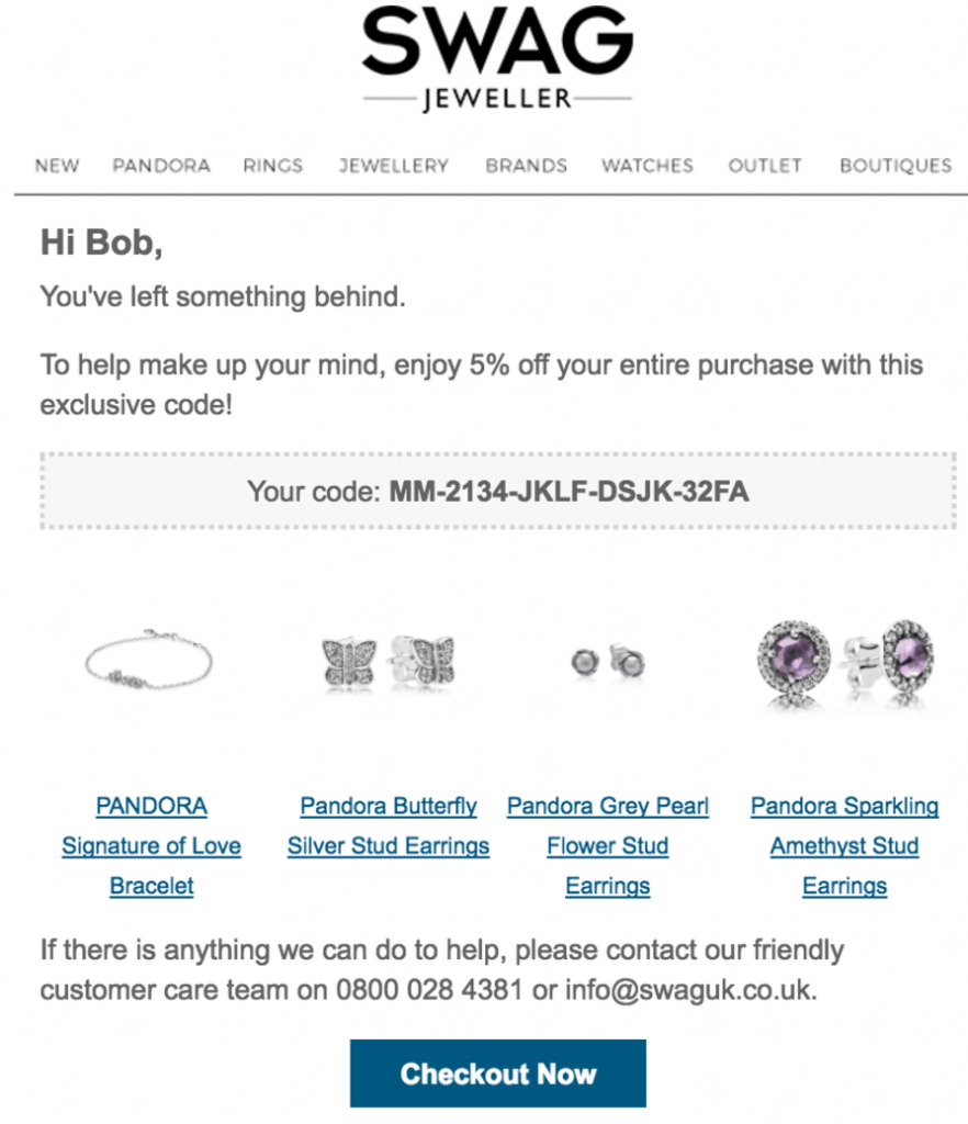 abandoned cart email with coupon by swag jeweller 882x1024